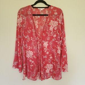 Y2K Victoria Secret pink floral sheer cover up M/L